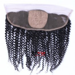 1 pc Brazilian Human Virgin Hair Silk Base Kinky Curly Lace Frontal Closure(13*4) SLB11