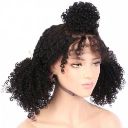 Glueless Preplucked Kinky Curly 360 Lace Frontal Wigs Peruvian Human Hair AOP11