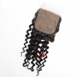 1 pc Brazilian Human Virgin Hair Deep Curly Silk Base Lace Closure (4*4) SSB10