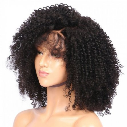 Glueless Preplucked Peruvian Kinky Curly Human Hair Lace Front Wig AFP15
