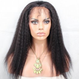 Glueless Preplucked Kinky Straight Full Lace Wig Peruvian Human Hair AAP02