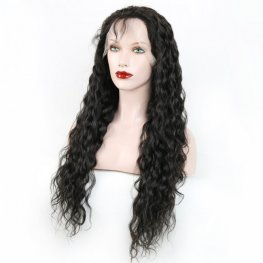 Glueless Preplucked Natural Black Water Wave Lace Front Peruvian Human Hair Wig AFP08