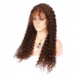 Preplucked Light Brown #4 Deep Curly Brazilian Human Hair Lace Front Wigs AFB10-#4
