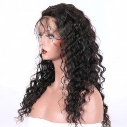 Glueless Preplucked Loose Wave 360 Lace Frontal Wigs Brazilian Human Hair AOB06