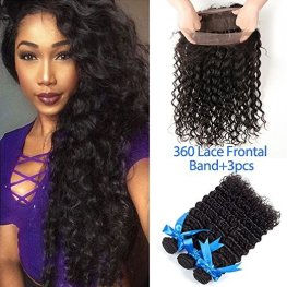 3 Bundles 7A Grade Peruvian Deep Wave Human Virgin Hair with 1 Piece 360 Lace Frontal POP05