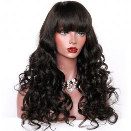 Glueless Preplucked 250% Density High Density Bang Wig Brazilian Wave Lace Front Wig with Bang AFB34