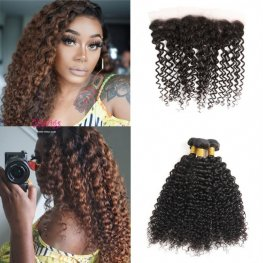 Natural Color 8A Grade 3 Bundles Jerry Curly Brazilian Human Hair with 1 Piece Lace Frontal (13x4) PLB15