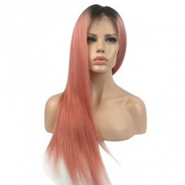 Pink Wig Brazilian Straight Lace Front Wig AFB28