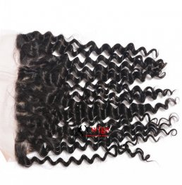 1 pc Peruvian Human Virgin Hair Deep Curly Silk Base Lace Frontal (13*4) SLP10