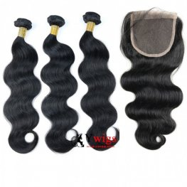 8A Grade 3 Bundles Brazilian Body Wavy Human Virgin Hair with 1 Piece Lace Closure(4*4) PSB03