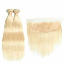 613 Blonde 2 Bundles Straight Brazilian Human Hair with 1 Piece Lace Frontal Closure (13x4) PLB21-#613