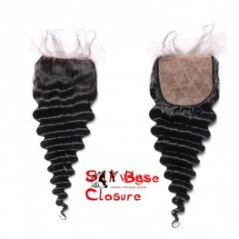 1 pc Brazilian Human Virgin Hair Deep Wave Silk Base Lace Closure (4*4) SSB05