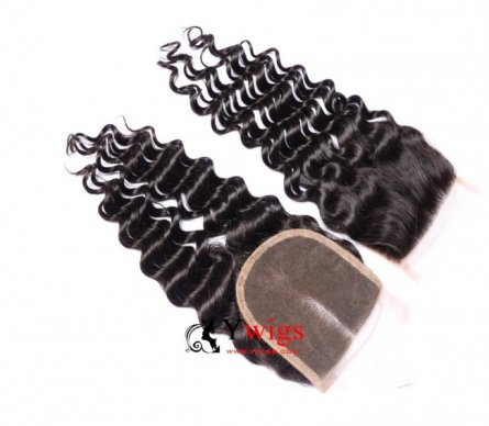 1 pc Peruvian Human Virgin Hair Deep Curly Lace Closure (4*4) LSP10