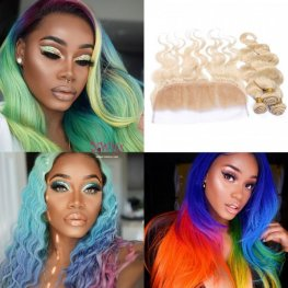 613 Blonde 3 Bundles Body Wave Brazilian Human Hair with 1 Piece Lace Frontal Closure (13x4) PLB04-#613