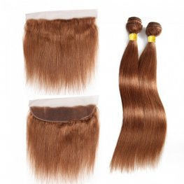 2 Bundles #30 Brown 8A Grade Straight Brazilian Human Hair Weave with 1 Piece Lace Frontal PLB302