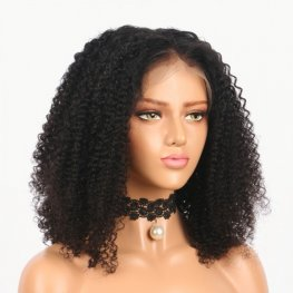 Glueless Preplucked Kinky Curly Brazilian Human Hair 360 Lace Frontal Bob Wigs BOB309