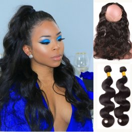 Frontal Ponytail 2 Bundles Natural Color Brazilian Body Wave Weft with 1 Piece 360 Lace Frontal POB024
