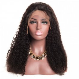 Glueless Preplucked Peruvian Hair Human Hair Kinky Curly Full Lace Wig AAP11