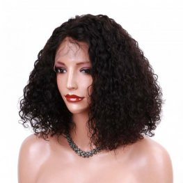 Glueless Preplucked 250% Density Deep Curly Bob Wig Brazilian Hair Human Hair Lace Front Wigs BOB28