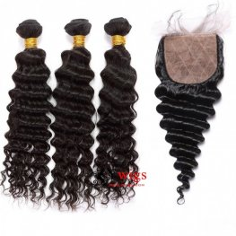 7A Grade 3 Bundles Peruvian Deep Wave Human Virgin Hair with 1 Piece Silk Closure(4*4) SPSP05