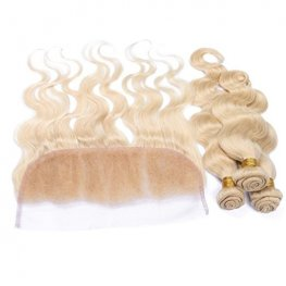 613 Blonde 3 Bundles Body Wave Peruvian Human Hair with 1 Piece Lace Frontal Closure (13x4) PLP04-#613