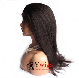 Glueless Preplucked Yaki Straight Peruvian Hair Human Hair Full Lace Wig AAP016