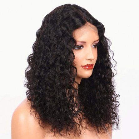 Glueless Preplucked Water Wave Brazilian Human Hair Full Lace Wig AAB37