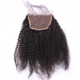 1 pc Brazilian Human Virgin Hair Afro Kinky Curly Lace Closure (4*4) LSB09