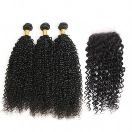 8A Grade 3 Bundles Brazilian Jerry Curly Human Virgin Hair with 1 Piece Lace Closure(4*4) PSB15