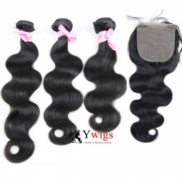 7A Grade 3 Bundles Peruvian Body Wave Human Virgin Hair with 1 Piece Silk Closure(4*4) SPSP04