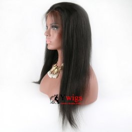 Glueless Preplucked Peruvian Straight Human Hair Lace Front Wigs with Baby Hair AFP01