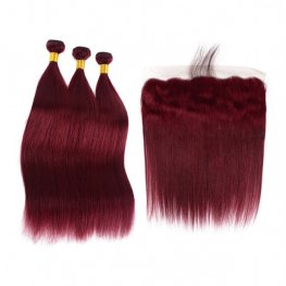 3 Bundles #99J Burgundy Brazilian Straight Human Hair with 1 Piece Lace Frontal(13*4) PLB013-#99J