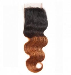 1pc Omber Hair #1b/30 Peruvian Human Hair Body Wave Lace Closure (4*4) LSP04-#1b/30