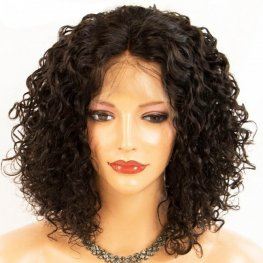Glueless Preplucked Curly Bob Wig 360 Lace Frontal Bob Wig Brazilian Human Hair BOB35