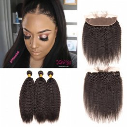 3 Bundles Kinky Straight Brazilian Virgin Human Hair with 1 Piece Lace Frontal (13x4) PLB23