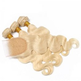 613 Blonde 3 Bundles Peruvian Body Wave Human Hair with 1 Piece Lace Closure(4*4) PSP04-#613