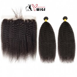 2 Bundles Kinky Straight Brazilian Human Hair with 1 Piece Lace Frontal Closure (13x4) PLB022