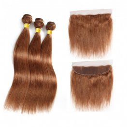 3 Bundles #30 Brown 8A Grade Straight Brazilian Human Hair Weave with 1 Piece Lace Frontal PLB303