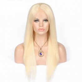 10A Platinum Blonde Straight Malaysian Human Hair Lace Front Wigs AFB01-#613