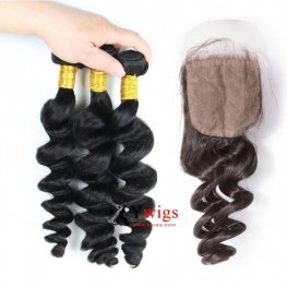 7A Grade 3 Bundles Peruvian Loose Wave Human Virgin Hair with 1 Piece Silk Closure(4*4) SPSP06