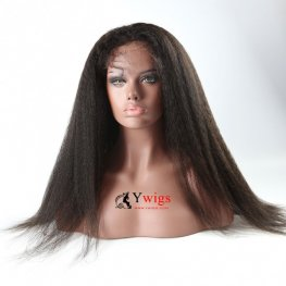 Glueless Preplucked Brazilian Hair Kinky Straight Human Hair Lace Front Wig AFB02
