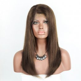 #4 Brown Straight Brazilian Human Hair 360 Lace Frontal Wigs AOB25
