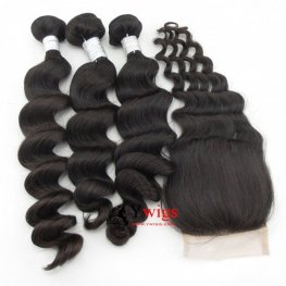 7A Grade 3 Bundles Peruvian Loose Wave Human Virgin Hair with 1 Piece Lace Closure(4*4) PSP06