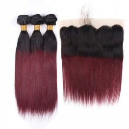 3 Bundles #99J Burgundy with Dark Roots Brazilian Straight Human Hair with 1 Piece Lace Frontal(13*4) PLB013-#1B/99J