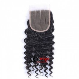 7A Grade 3 Bundles Peruvian Deep Curly Human Virgin Hair with 1 Piece Lace Closure(4*4) PSP10