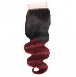 1pc #99J Burgundy with Dark Roots Brazilian Body Wave Lace Closure (4*4) LSB04-#1b/99j