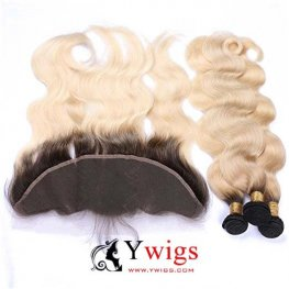 1b/613 Ombre 3 Bundles Body Wave Brazilian Human Hair with 1 Piece Lace Frontal Closure (13x4) PLB06