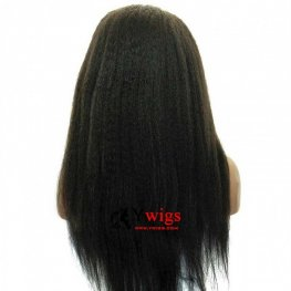 Glueless Preplucked Brazilian Hair Kinky Straight Full Lace Human Hair Wig AAB019