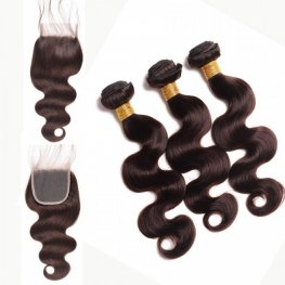 3 Bundles #2 Brown Peruvian Human Hair Body Wave Weave with 1 Piece Lace Closure (4X4) PSP24