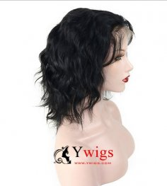 Glueless Preplucked Loose Wave Peruvian Human Hair 360 Lace Frontal Bob Wigs BOB06